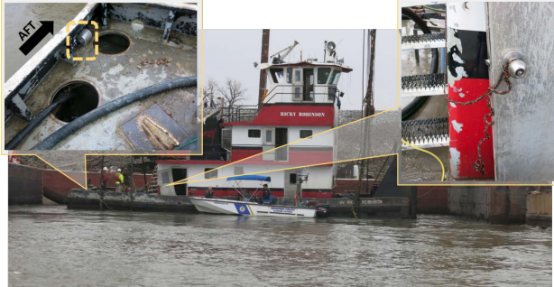 After the towboat Ricky Robinson was raised, investigators found hatch covers missing (left) and an engine room door tied open. NTSB photos.