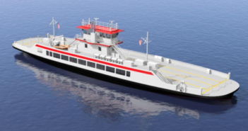 "The two new 185'x46'x10'6"" ferries will replace the smaller Hatteras-class ferries that currently serve North Carolina. C. Fly Marine Services rendering"