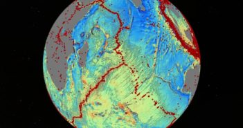 A version of Dr. David Sandwell's sea floor map reveals details about earthquakes (red dots), sea floor-spreading ridges and faults. For creating the most comprehensive global map of the ocean floor, Sandwell received the Charles A. Whitten Medal. (Photo courtesy of Dr. David Sandwell, Scripps Institution of Oceanography, UC San Diego)