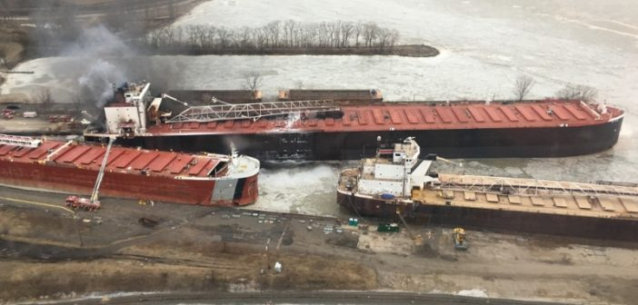 A fire broke out on the Great Lakes ore carrier St. Clair while it was moored at Oregon, Ohio, for winter repair work Feb. 16, 2019. Coast Guard photo/MCPO Alan Haraf