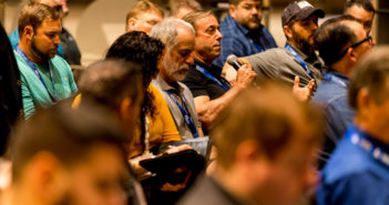 The crowd at the well-attended Think Tank session at the WorkBoat Show asked about TSMS procedures and several other topics. WorkBoat photo