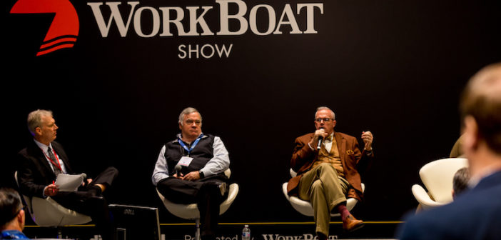Left to right, Editor-in-Chief David Krapf, Christopher Parsonage, president and executive director of the Towing Vessel Inspection Bureau, and Kevin Gilheany, owner of Maritime Compliance International. WorkBoat photo