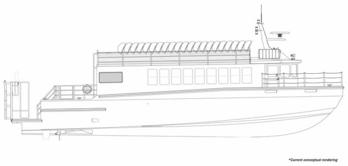 The 64'x19' vessel is being constructed of aluminum at Moran Iron Works' headquarters, Onaway, Mich. Moran Iron Works rendering