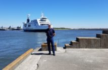 Will Ayers awaiting arrival of a Scandlines hybrid ferry. EBDG photo