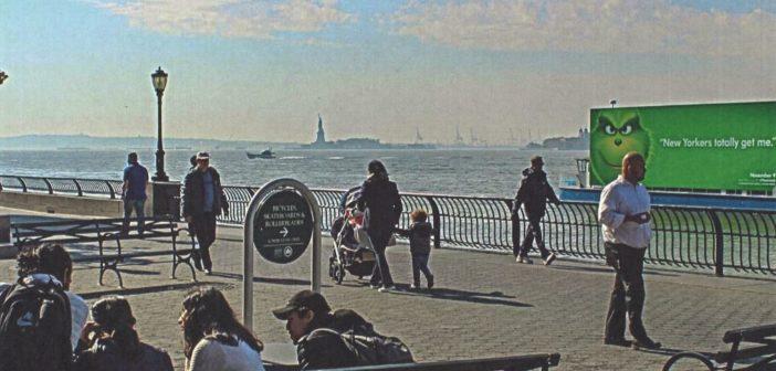Ballyhoo Media's billboard boat cruises past Battery Park in lower Manhattan. New York City Mayor's Office photo