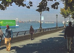 The Hudson River along New York's West Side is a regular route for Ballyhoo Media's floating billboard. New York City Mayor's Office photo