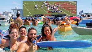 A Ballyhoo Media billboard boat displayed the 2019 Super Bowl game for fans at Virginia Key Beach Park near Miami, Fla. Ballyhoo Media photo