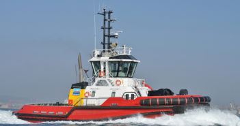 The first tug to be fitted with Caterpillar's Advanced Variable Drive, a hybrid system, is one of Sanmar's successful Boğaçay Series. It will be the 38th of this class to enter service, a class designed exclusively by RAL for Sanmar. Photo courtesy of Sanmar