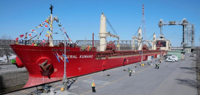 The bulk carrier Federal Kumano transiting the St. Lambert Lock on the first day of the 2019 navigation season on the St. Lawrence Seaway. St. Lawrence Seaway Management Corp. photo