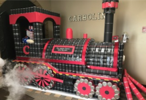 Carboline's Green Bay Plant won the Canstruction Challenge with its Carboline train. Carboline Company photo