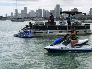 A Coast Guard Station Miami Beach boarding team stopped a 24' pontoon boat operating as an illegal charter near Watsons Island, Fla., March 15, 2019. Coast Guard photo