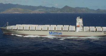 The Daniel K. Inouye arrives off Oahu in 2018. A sister ship, the Kaimana Hila, was christened at Philadelphia March 9, 2019. Matson video image