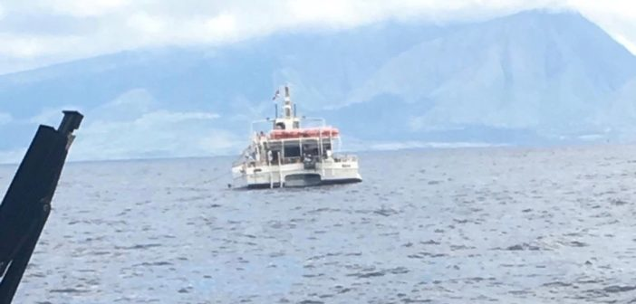 The excursion vessel Kaulana struck a rock off Manele Bay, Lanai, March 9, 2019. The catamaran crew were able to patch a hole in the hull and the vessel was towed back to port on Maui. Coast Guard photo/FM Andrew Sprinkle