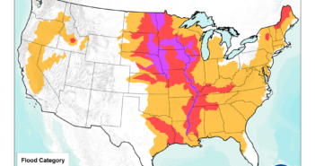 Potentially record spring flooding could affect parts of 25 states, the National Oceanic and Atmospheric Administration warned. NOAA image