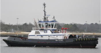 The tug is ABS classed Maltese Cross A1, AMS, Towing Vessel, Escort, FFV1. Gulf Island Shipyards photo