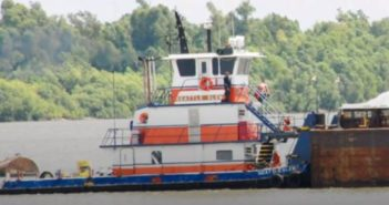 The towboat Seattle Slew capsized March 18 near the Myrtle Grove Fleet in Plaquemines Parish, La. Turn Services photo