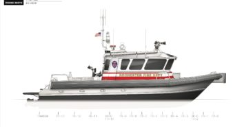 The navigation and electronics suite is comprised of multifunction navigation screens, radar, 3D side scan sonar, AIS, VHF radios, radio direction finder and a thermal imaging camera. Moose Boats rendering