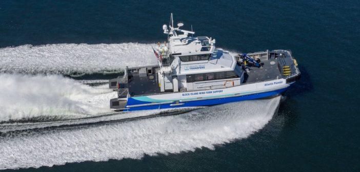 The Atlantic Pioneer built by Blount Boats is the first and so far only U.S. flag offshore wind crew transfer vessel. Blount Boats photo