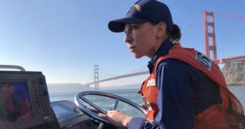 Petty Officer 1st Class Krystyna Duffy, a boatswain's mate assigned to Coast Guard Station Golden Gate in San Francisco, pilots a 47' motor lifeboat near the Golden Gate Bridge. In March 2018 Duffy became the fourth active female surfman in the Coast Guard, earning the highest rank in Coast Guard boat operations. Coast Guard photo/PO3 Sarah Wilson
