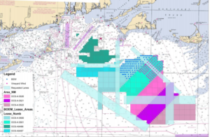 The Coast Guard and BOEM are considering fishing industry proposals for safe transit lanes (light blue) for wind energy areas off southern New England. Coast Guard image