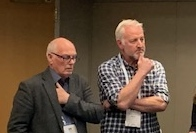 Fishermen Colin Warwick, left, and Merlin Jackson, who represent fishermen in the United Kingdom on offshore wind energy issues, listen during a workshop discussion at the IPF19 conference in New York April 10, 2019. Kirk Moore photo