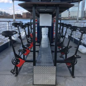 NYC Cycleboats can carry 10 pedaling passengers. NYC Cycleboats photo