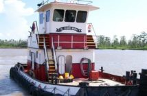 The DeJeanne Maria sank after striking a submerged object in the Lower Mississippi River near Venice, La., April 15, 2019. Denet Towing Service photo