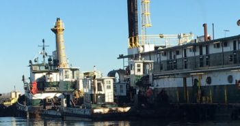 A crewmember from the dredge Brunswick was missing after a workboat capsized at Charleston, S.C. Southern Dredging photo