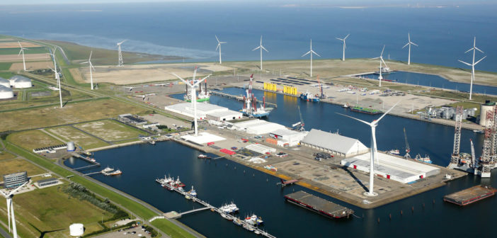 The Netherlands seaport of Eemshaven is a hub for the North Sea offshore wind energy industry. Groningen Seaports photo