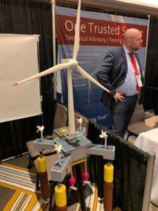 A model of a floating wind energy turbine at the IPF19 conference in New York City. Kirk Moore photo