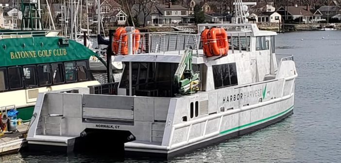 The Captain Ben Moore is a first of its kind hybrid cargo vessel built to deliver local produce and food across Long Island Sound. Harbor Harvest photo