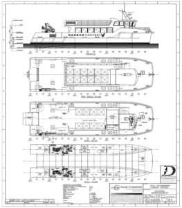 The Harbor Harvest vessel is based on an Incat Crowther design with the addition of cargo space and walk-in refrigeration. Derecktor Shipyards image