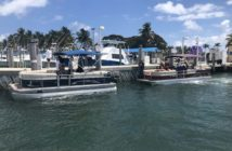 Two pontoon boats at Haulover Inlet, Fla., were boarded by the Coast Guard and their voyages terminated as illegal charters March 31, 2019. Coast Guard photo.