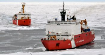 The Coast Guard icebreaker Healy, right, in joint operations with the Canadian icebreaker Louis St. Laurent in 2009. NOAA photo