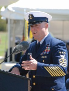 Master Chief Petty Officer Jason Vanderhaven speaks at the dedication of the Coast Guard Enlisted Memorial. Kirk Moore photo