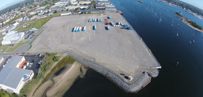 The New Bedford Marine Commerce Terminal was designed to support wind energy development off Massachusetts, but at 21 acres may not be big enough alone for the projects that could be coming in the 2020s. Massachusetts Clean Energy Center photo