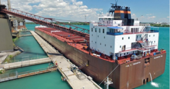The Paul R. Tregurtha, was built for Interlake Steamship by the American Ship Building Co., Lorain, Ohio, in 1981. The 1,013'x105'x56' vessel has a capacity of 68,000 tons, and is the longest vessel on the Great Lakes. Photo courtesy of Interlake Steamship Company