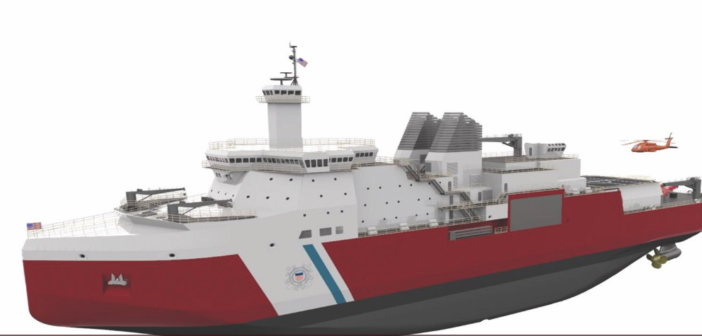 A rendering of the planned Coast Guard polar security cutter. VT Halter rendering