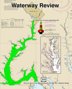 A graphic illustration of where U.S. Coast Guard Sector Maryland-National Capital Region in Baltimore will be conducting the Waterways Analysis and Management System on the Potomac River throughout the months of April-June. Coast Guard image/PO1 Andrew Kendrick