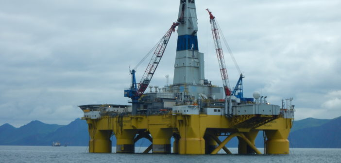 The drilling platform Transocean Polar Pioneer at Dutch Harbor, Alaska, before Royal Dutch Shell's 2015 attempt to explore in the Chukchi Sea. BSEE photo