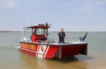 The craft's firefighting system includes a Hale Attack Max fire pump rated at 550 gpm and powered by a dedicated 35-hp marinized engine. Lake Assault Boats photo