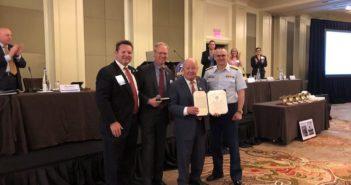 Pictured left to right: Clark Todd, AWO treasurer; Scott Merritt, AWO chairman; Walter Blessey Jr., and Rear Adm. John Nadeau. Photo courtesy Deanna Wisniewski, AWO