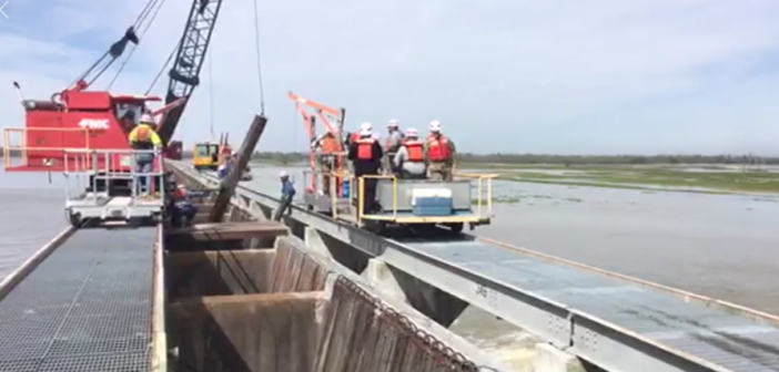 The U.S. Army Corps of Engineers began opening the Bonnet Carré Spillway Friday due to high water in the Mississippi River. Corps of Engineers photo