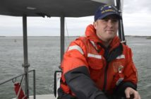 Petty Officer 2nd Class Eric Thornton, a surfman and boatswain's mate at Coast Guard Station Barnegat Light, and recipient of the 2018 Cdr. Ray Evans Outstanding Coxswain Trophy, operates a 47' motor lifeboat near Barnegat Light, N.J., May 9, 2019.