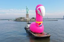 Soft drink maker Pepsi hired a Miller's Launch tug to push a giant inflated flamingo around New York City to kick off a summer marketing campaign. Pepsi photo
