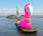 Pink flamingo on a barge turns heads in New York