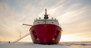 The Coast Guard icebreaker Healy in Arctic Ocean ice Oct. 3, 2018, about 715 miles north of Barrow, Alaska, on a science mission for the Office of Naval Research. Coast Guard photo/ NyxoLyno Cangemi