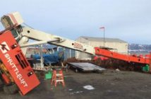 A crew member from the Coast Guard buoy tender Hickory died when a crane flipped over at the buoy yard in Homer, Alaska, Jan. 31, 2019. Coast Guard photo