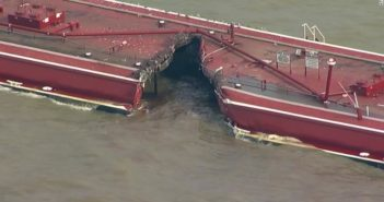 A tank barge was holed and lost much of its gasoline blend cargo in a collision with a tanker in the Houston Ship Channel May 10, 2019. CNN image