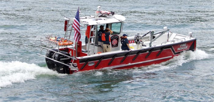 The new fireboat provides fire suppression and emergency response services for homeowners, visitors, and Georgia Power facilities located on the lake. Lake Assault Boats photo